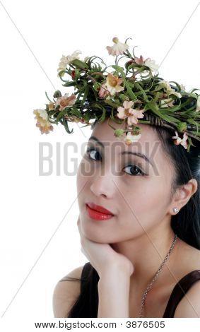 Oriental Woman Wearing A Flower Crown