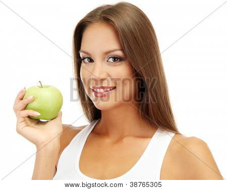 beautiful young woman with green apple, isolated on white