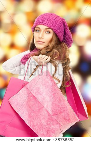 picture of lovely woman with shopping bags.