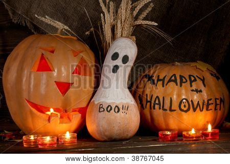 Halloween pumpkins on dark background