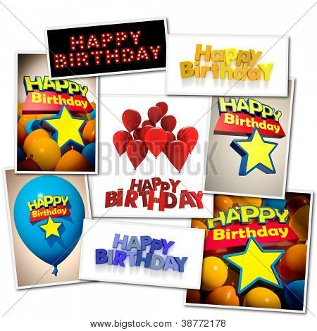 Collage made of different images with the message Happy Birthday