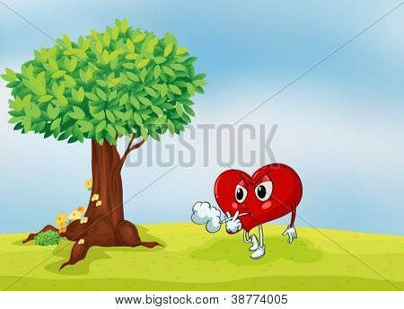 illustration of a heart and a tree in a beautiful nature
