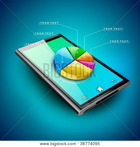 Abstract 3D pie chart background, Business concept on a tablet screen. EPS 10.