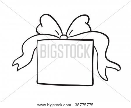 detailed sketch of gift box on a white background