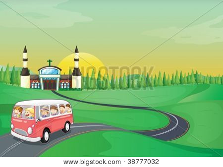 illustration of a bus and kids in a beautiful nature