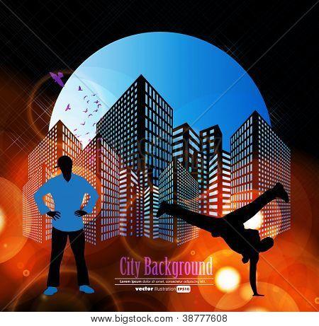Break-dance silhouettes. Vector illustration.