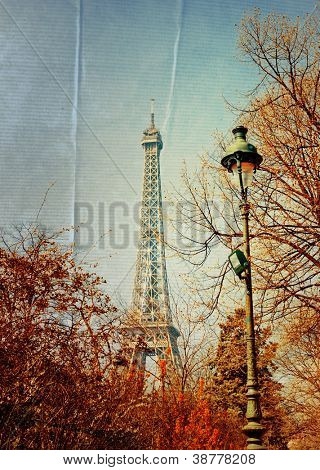 beautiful Parisian sunshine Eiffel Tower (nickname La dame de fer, the iron lady),The tower has become the most prominent symbol of both Paris and France
