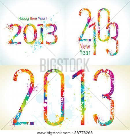 Set of New Year's cards 2013 with colorful drops and sprays. Vector illustration.