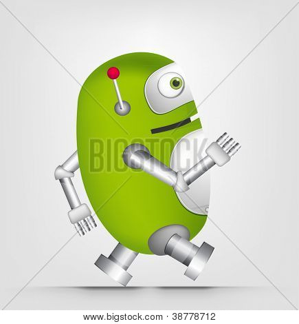 Cartoon Character Cute Robot Isolated on Grey Gradient Background. Running. Vector EPS 10.