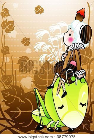 Happy Autumnal Dream - lovely little artist with paint brush, beautiful brown background : vector illustration