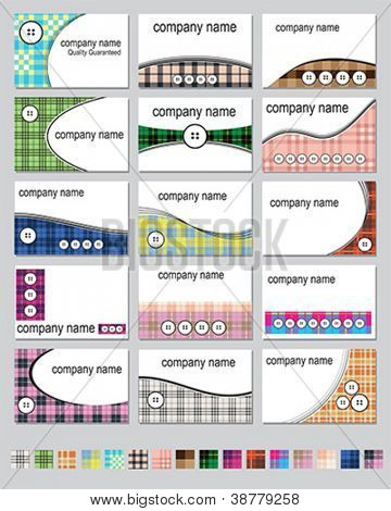 Fifteen business card designs in plaid colors