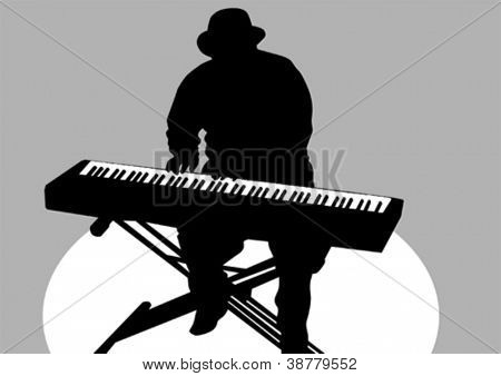 Vector drawing of a man at piano on stage