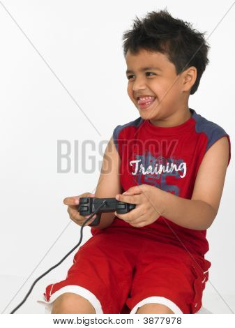 Asian Boy Playing On His Play Station