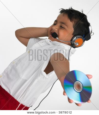 Asian Boy Listening To Music