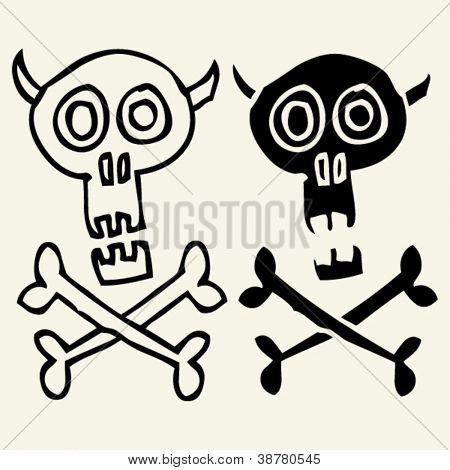 skull and crossbones doodles