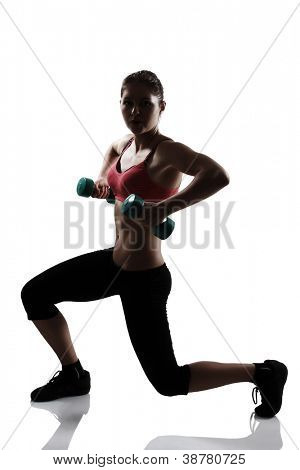 sport young athletic woman doing squatting with dumbbells, silhouette studio shot over white background