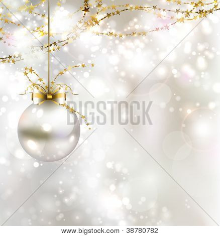 light Christmas background with light evening ball