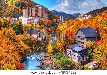 The Hot Springs resort town of Jozankei in the northern island of Hokkaido, Japan.