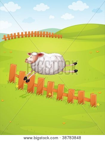 illustration of a sheep jumping in green farm