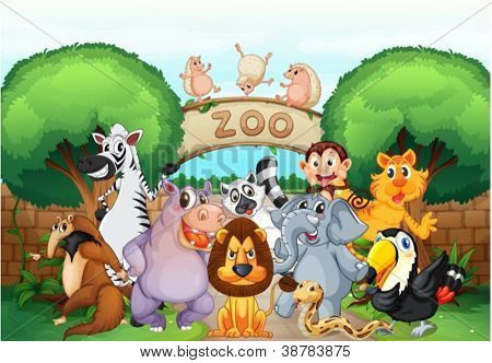 illustration of zoo and animals in a beautiful nature