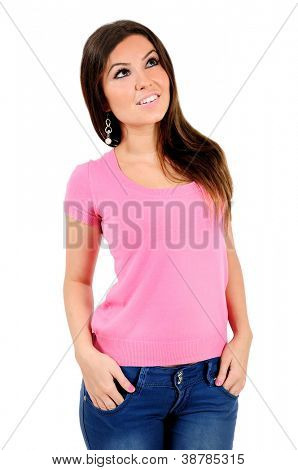Isolated young casual woman thinking