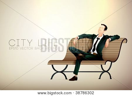 Young business man taking a relaxing break on a bench | City Life Series | Vector EPS10 with organized layers