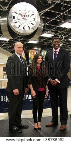 NEW YORK-OCT 25: Adam Graves, Danica Patrick and Larry Johnson attend unveiling of the Tissot Swiss Watches Lobby Clocks at Madison Square Garden Box Office on October 25, 2012 in New York City.