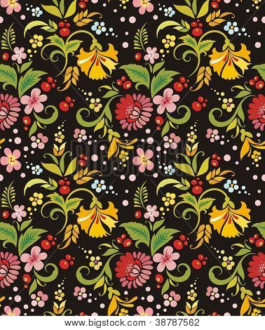 Vector seamless wallpaper with floral ornaments.