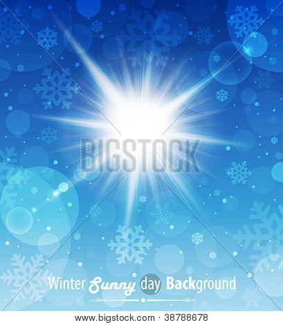 Winter sunny day background. Vector illustration.
