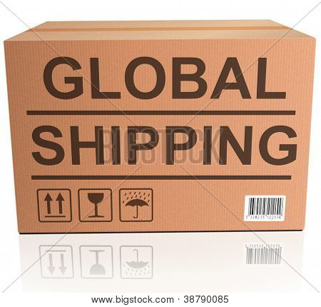 global shipping web shop icon concept for shipping online shopping order global cardboard box with text package delivery ecommerce