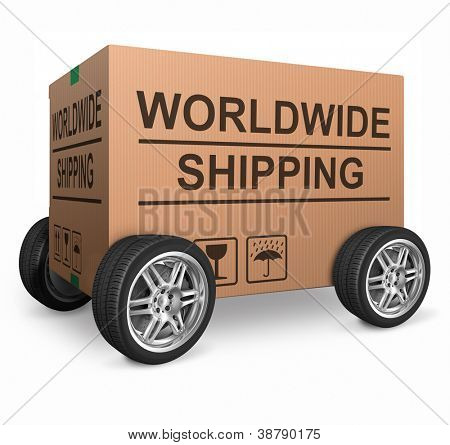 worldwide shipping web shop icon concept for shipping online shopping order global cardboard box with text package delivery ecommerce wheel