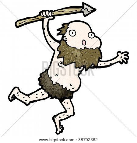 cartoon cave man with spear