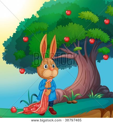 illustration of a rabbit under a tree