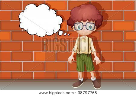 illustration of a boy thinking near a wall