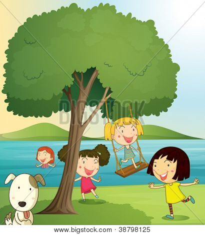 illustration of girls playing under tree in a beautiful nature