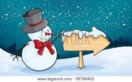 illustration of snowman in a beautiful nature