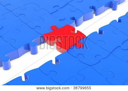 Jigsaw puzzle piece as connection bridge between blue parts