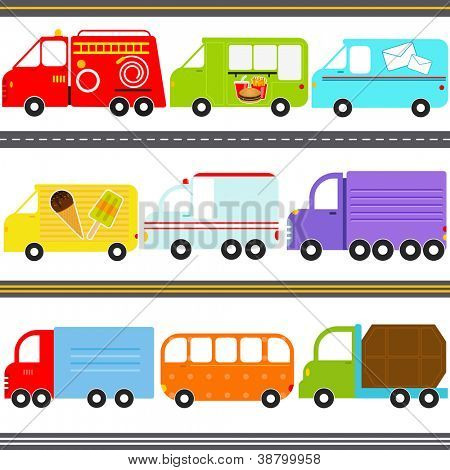 A set of cute Vector Icons : Van / Truck Vehicles / Freight Transportation