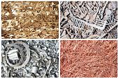 stock photo of waste disposal  - Set of metal copper brass steel scrap materials recycling background of punching waste - JPG