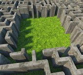 concrete maze over grass meadow