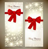 stock photo of sparkles  - Greeting cards with red bows and copy space - JPG
