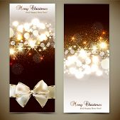 pic of sparkles  - Elegant greeting cards with bows and copy space - JPG