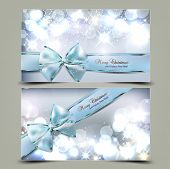 pic of sparkles  - Elegant Christmas greeting cards with blue bows and place for text - JPG
