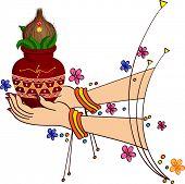 picture of kalash  - Women Holding Mangal Kalesha - JPG