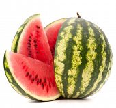 stock photo of watermelon  - Sliced ripe watermelon isolated on white background cutout - JPG