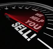 image of barter  - The words We Help You Sell on a speedometer dial with needle rising to represent successful sales thanks to a consultant or other expert offering advice or selling improvement service - JPG