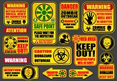 stock photo of undead  - Zombie Apocalypse Signs  - JPG