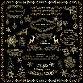 Set of golden design elements on dark background