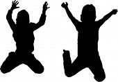 stock photo of exaltation  - Vector Silhouette of boy jumping up in the air - JPG