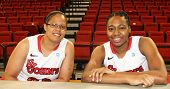 NEW YORK-OCT. 23: St. John's Red Storm forwards Mallory Jones (left) and Amber Thompson during media